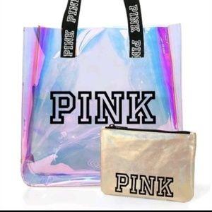 NWT victoria secret pink iridescent tote & pouch